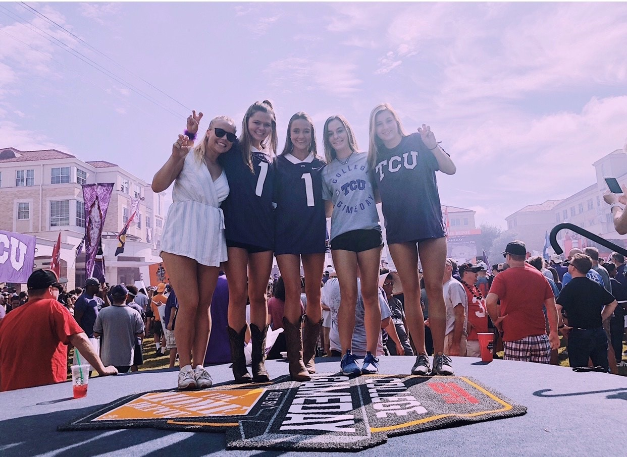 Female TCU students at College Gameday in the commons