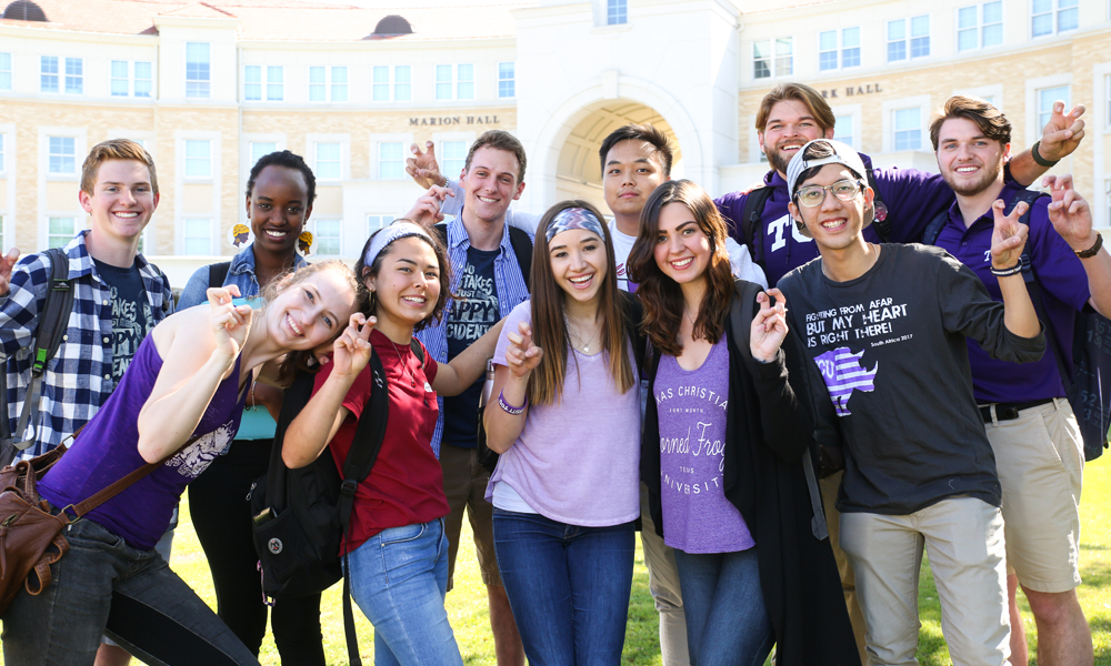 TCU students together in the Campus Commons